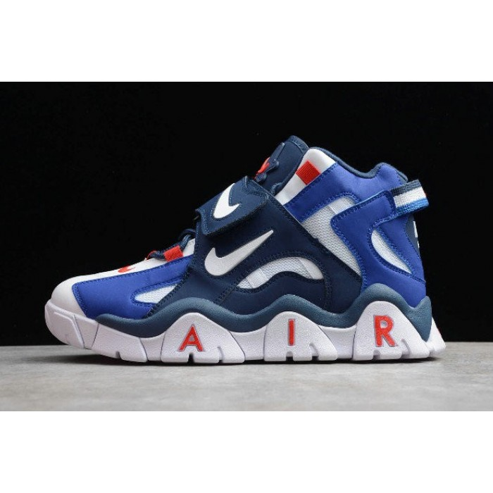 Men's 2019 Nike Air Barrage Mid QS White Red-Blue