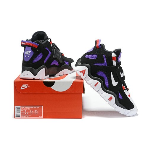 Men's Nike Air Barrage Mid Raptors Black White-Hyper Grape-University Red