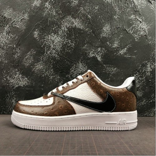 Women's 2019 Nike Air Force 1 07 LV8 White Brown Black