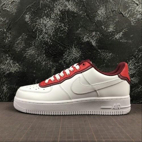Women's 2019 Nike Air Force 1 07 White Red Burguncy Rouge