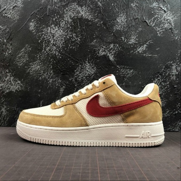 Women's 2019 Nike Air Force 1 Low Denim Pack Jersey Gold Sport Red White
