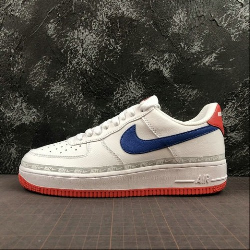 Women's 2019 Nike Air Force 1 Low Overbranding White Red Blue