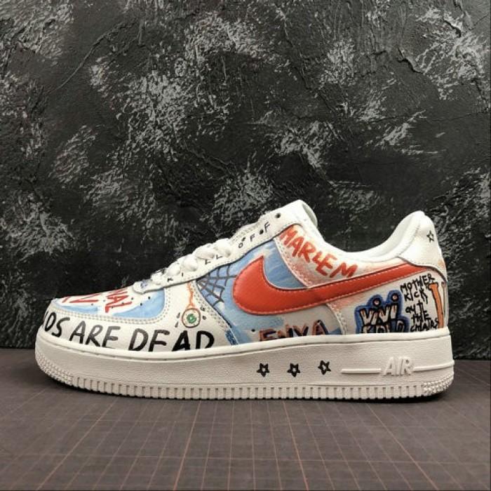 Women's 2019 Unisex Nike Air Force 1 Low Shoes White Blue Orange
