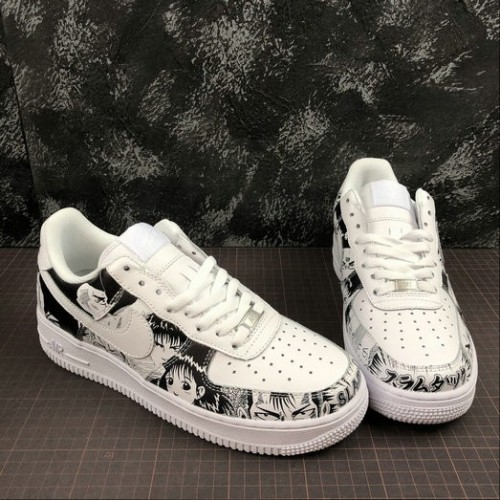 Women's 2019 Unisex SLAM DUNK x Nike Air Force 1 All White Black Army Green