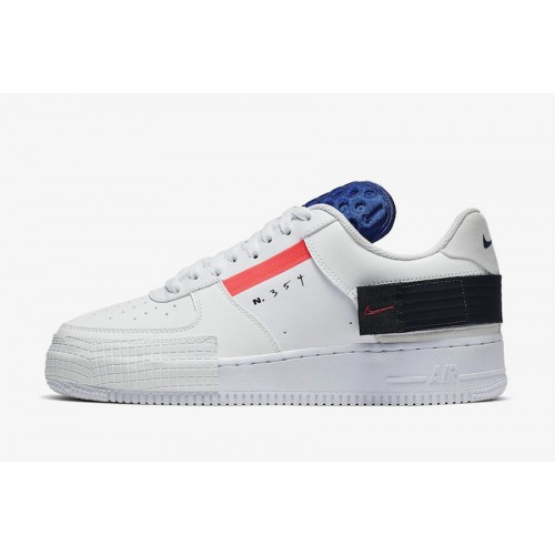 Men's 2019 Nike AF1 Low Type Summit White Red Orbit-White-Black