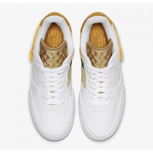 Men's 2019 Nike AF1 Type White Gold Yellow AT7859-100