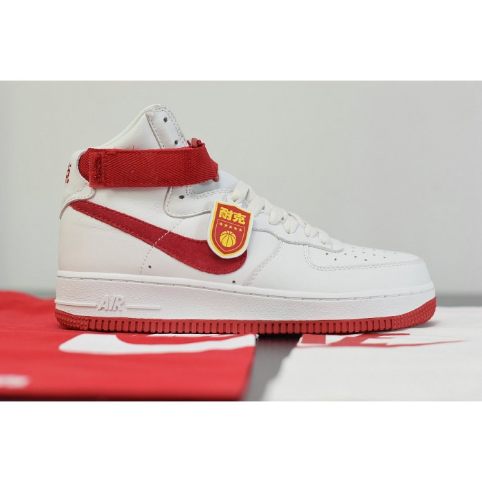 Men's 2019 Nike Air Force 1 High NAI KE summit white university red