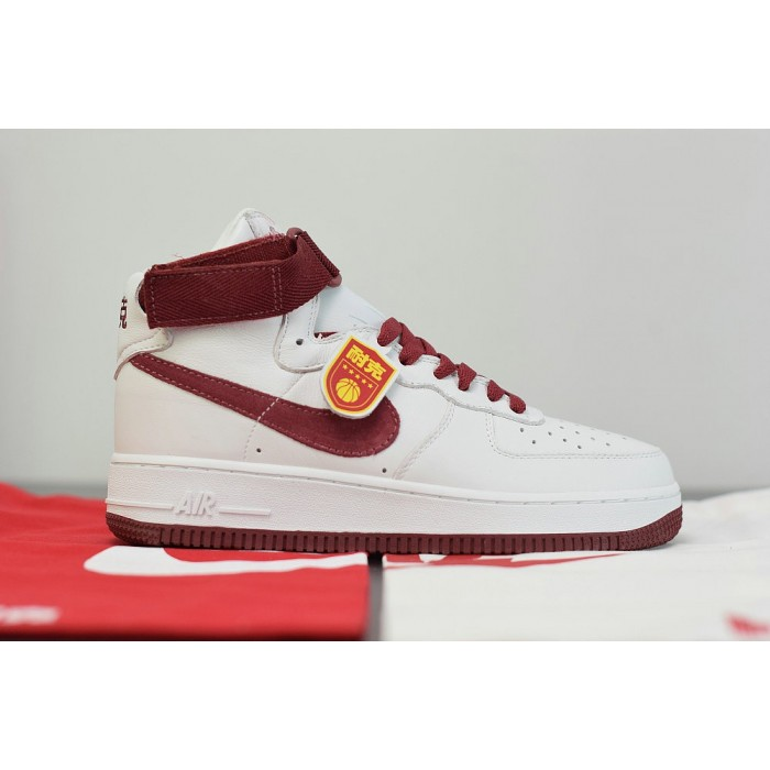 Men's 2019 Nike Air Force 1 High Summit White Team Red