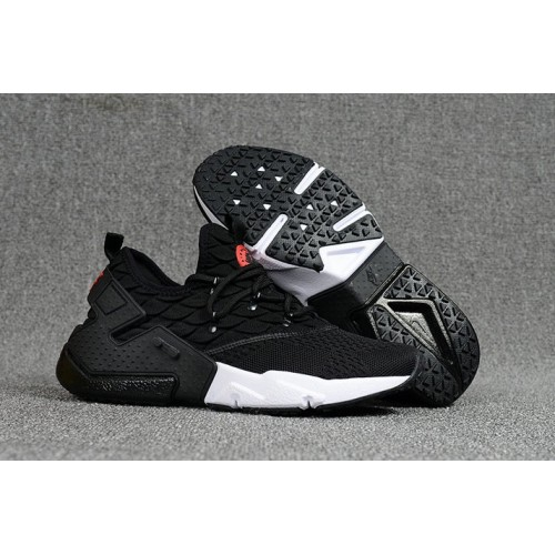Men's 2018 Nike Air Huarache Flyknit 3D Black White Sale