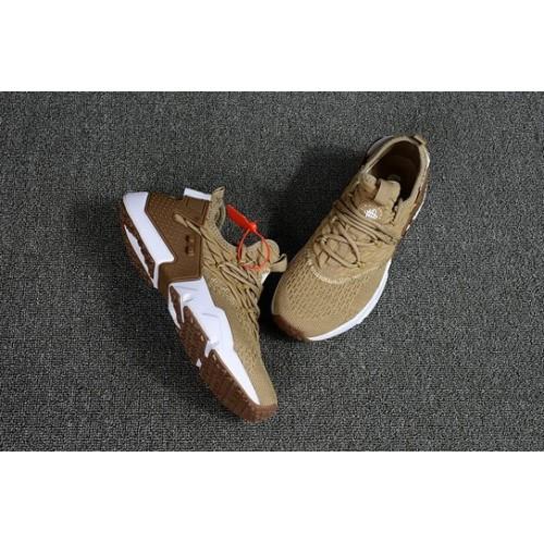 Men's 2018 Nike Air Huarache Flyknit 3D Brown Cream White Sale