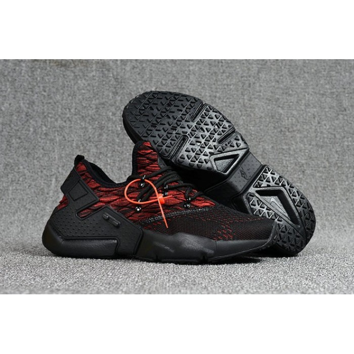 Men's 2018 Nike Air Huarache Flyknit 3D Fire Red Black Sale