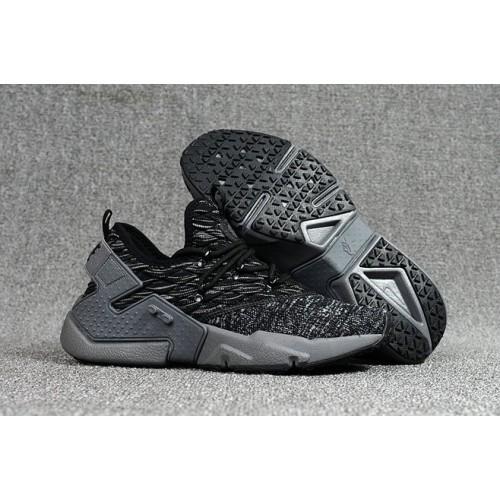 Men's 2018 Nike Air Huarache Flyknit 3D Grey Black Sale