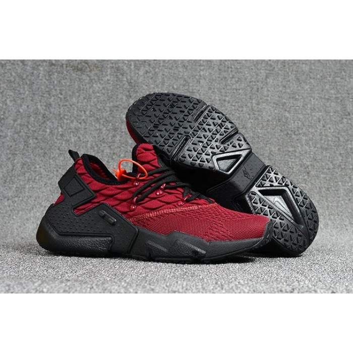 Men's 2018 Nike Air Huarache Flyknit 3D Red Black Sale