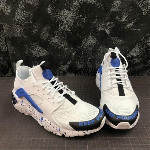 Men's 2019 Nike AIR HUARACHE ULTRA WHITE ROYAL BLUE BLACK