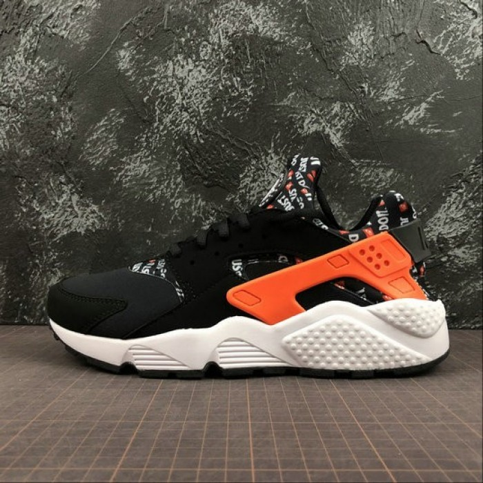 Men's Nike Air Huarache Run PRM Just Do It Black Total Orange White