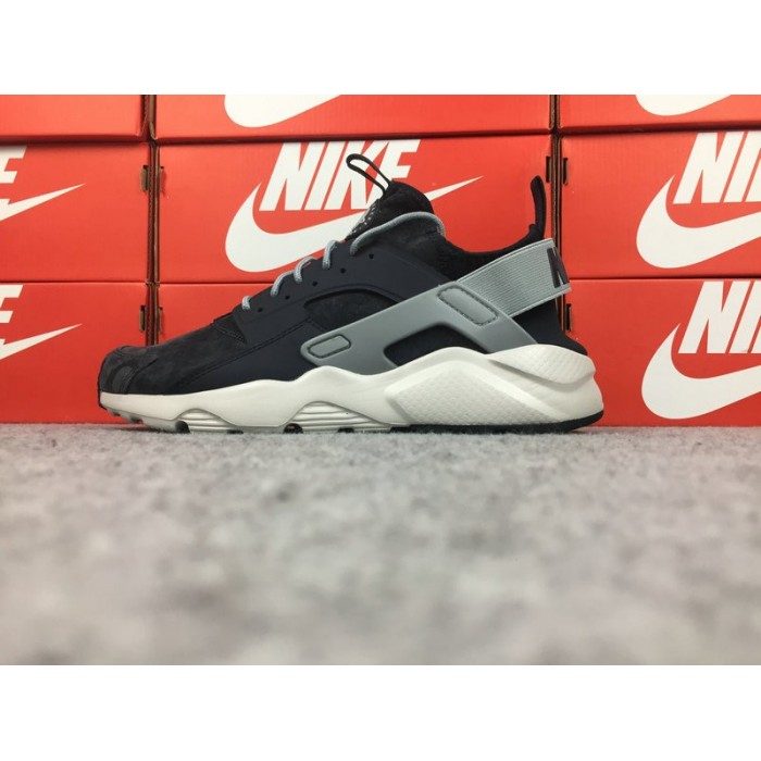Men's Nike Air Huarache Ultra ID 829669-667 Black Grey White