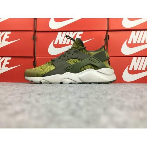 Men's Nike Air Huarache Ultra Run ID 753889-995 Olive Green White
