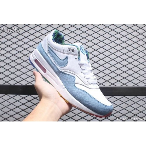 Men's 2019 Nike Air Max 1 87 Light Blue White