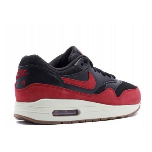 Women's Nike Air Max 1 Essential Black Gym Red-Sail-Gum Mid Brown