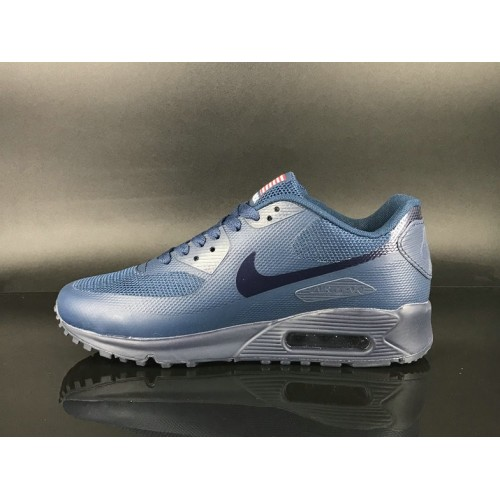 Men's 2018 Nike Air Max 90 Hyperfuse Sneaker Boot Silver Blue