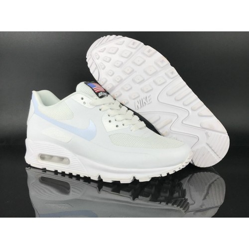 Men's 2018 Nike Air Max 90 Hyperfuse Sneaker Boot White Sale