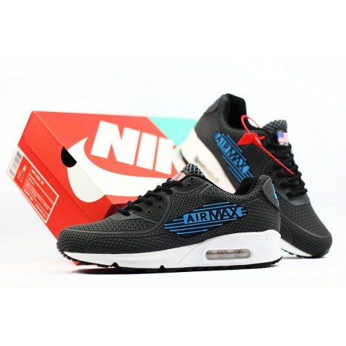 Men's 2018 Nike Air Max 90 Sneaker Boot Grey Blue White Black