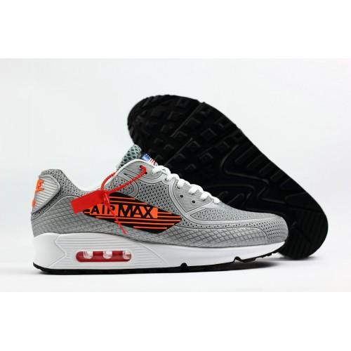 Men's 2018 Nike Air Max 90 Sneaker Boot Grey Orange Black White