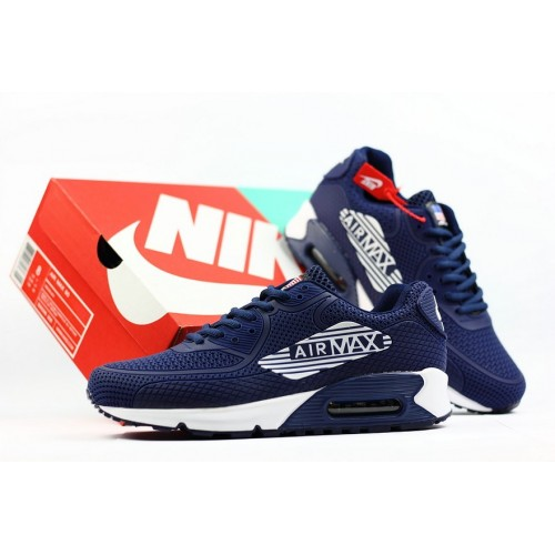 Men's 2018 Nike Air Max 90 Sneaker Boot Navy Blue White Black