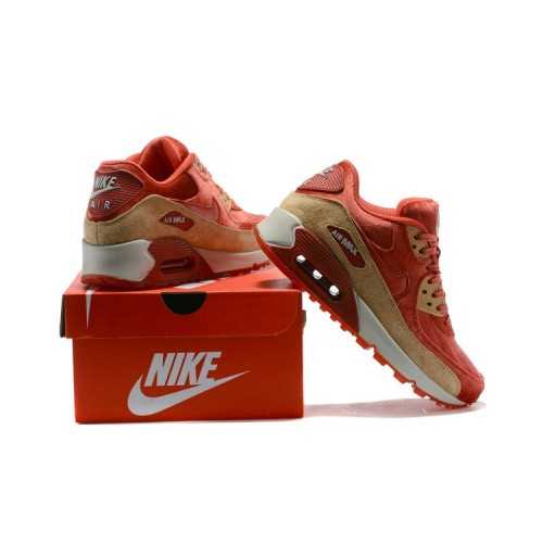 Men's 2018 Nike Air Max 90 Sneaker Boot Red Gold White Sale