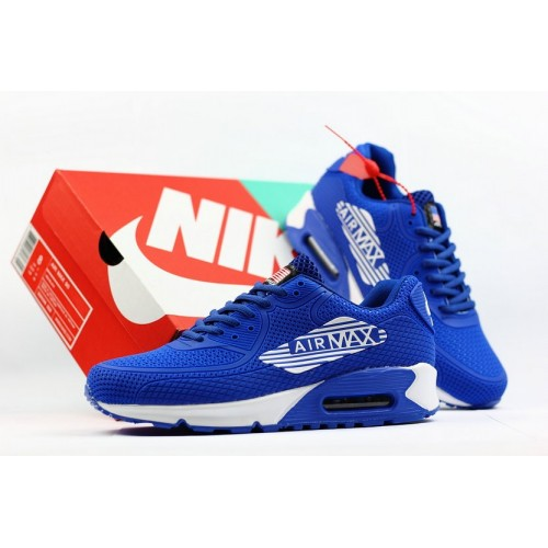 Men's 2018 Nike Air Max 90 Sneaker Boot Royal Blue White Sale