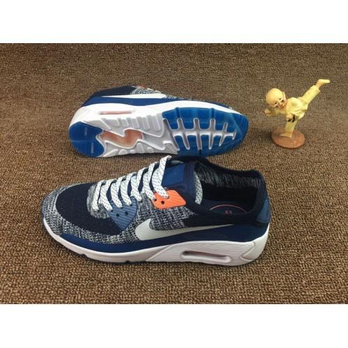 Men's Nike Air Max 90 HYP PRM Deep Blue Grey White Orange