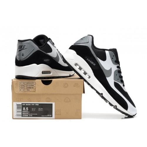 Men's Nike Air Max 90 Hyperfuse Premium Black White Grey