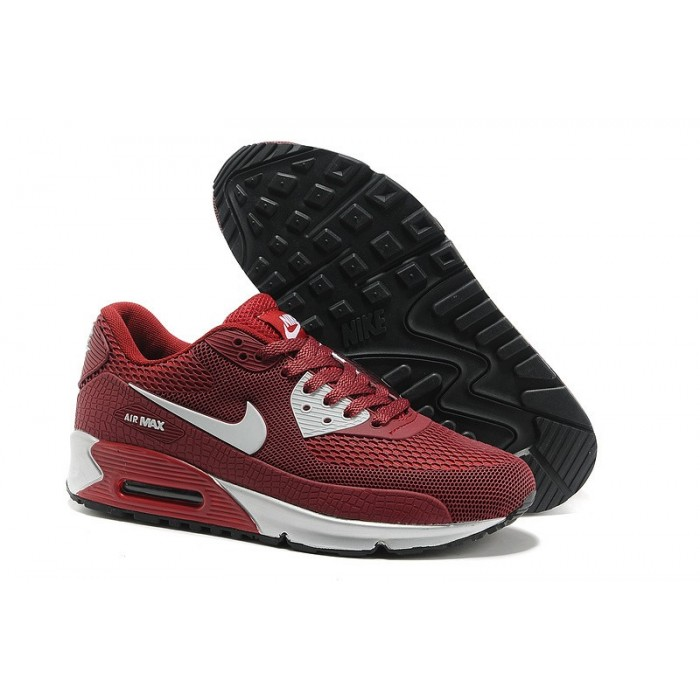 Men's Nike Air Max 90 Hyperfuse Premium Dark Red White Black