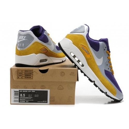 Men's Air Max 90 Hyperfuse Premium Yellow Purple Black Grey White