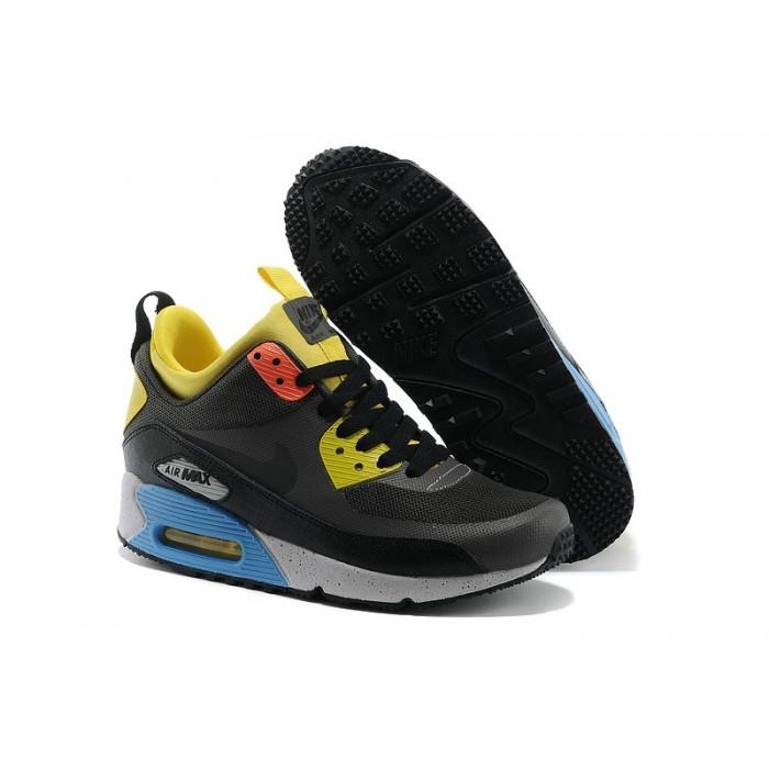 Women's Nike Air Max 90 Mid Yellow Black Grey Blue