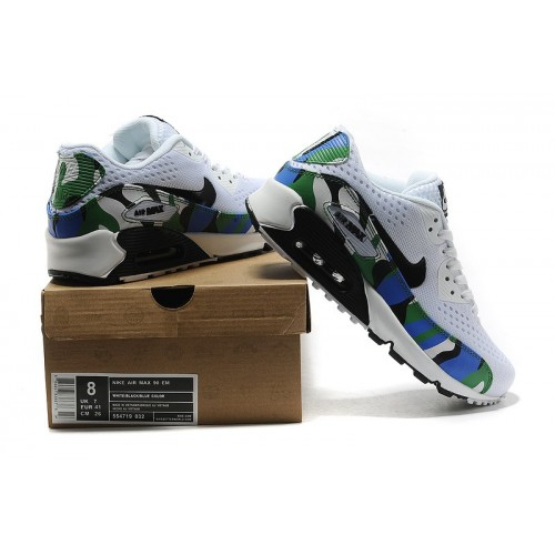 Men's Nike Air Max 90 White Black Green Blue