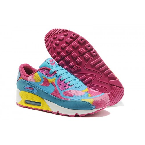 Women's Nike Air Max 90 Yellow Blue Pink