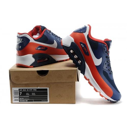 Men's Nike Air Max 90 Hyperfuse White Orange Blue