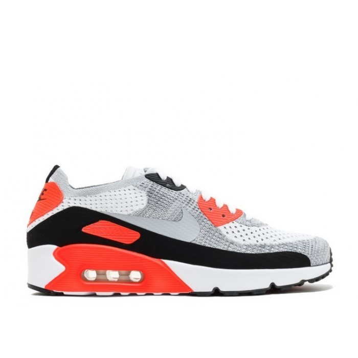 Men's Nike Air Max 90 Ultra 2.0 Flyknit Shoe 875943-100 White Wolf