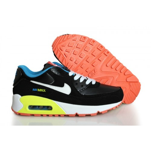 Women's Nike Air Max 90 Wome Orange Yellow Black White Blue