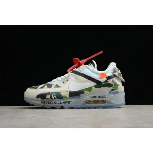 Women's Off White x Nike Air Max 90 Camo Sail White-Muslin Size