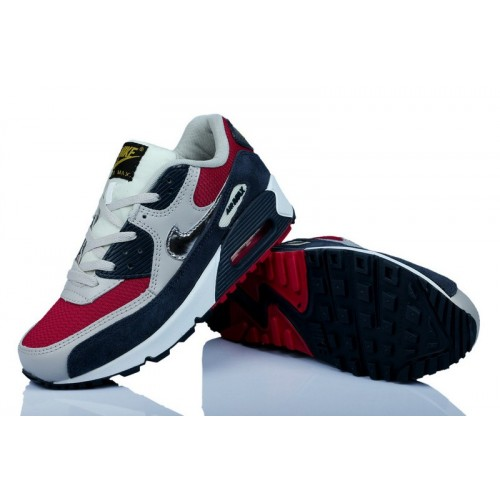 Women's Nike Air Max 90 Navy Blue Red Grey White