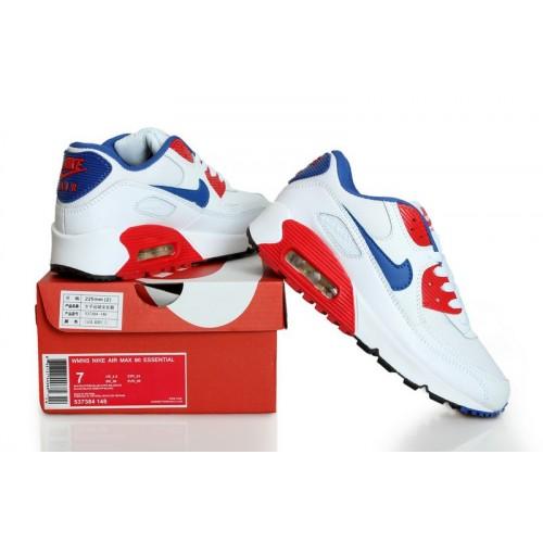 Men's Nike Air Max 90s White Blue Red Black