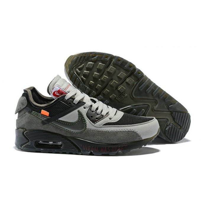 Men's Nike Off-White x Nike Air Max 90 Grey Black