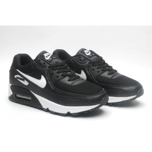 Women's Nike Air Maxs 90 Black White-Anthracite-White