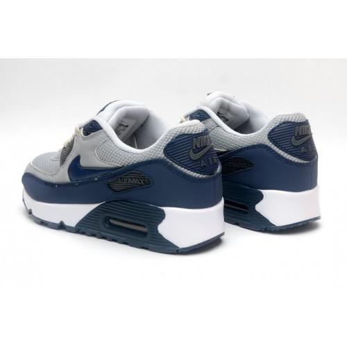 Women's Nike Air Maxs 90 Cold Grey Royal Blue White