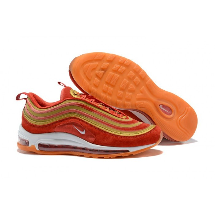 Men's 2018 Nike Air Max 97 SneakerBoots Red Gold White Sale
