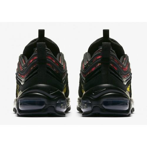 Men's 2019 Nike Air Max 97 SE Black-Black-University Red-Amarillo