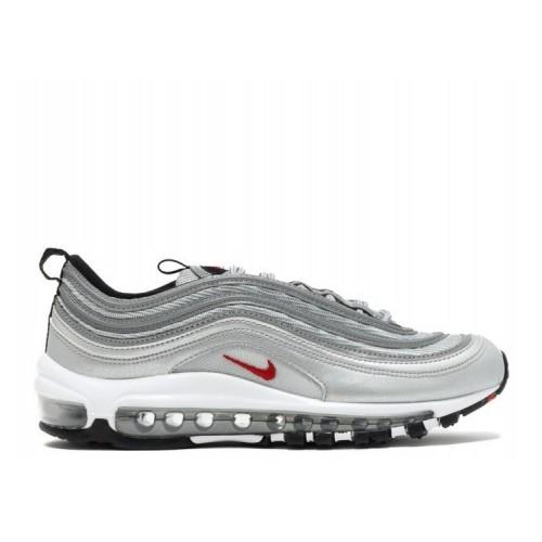Women's Nike Air Max 97 Qs Gs Silver Bullet Metallic Silver Varsity Red