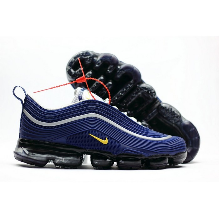 Men's 2018 New Arrival Nike Air VaporMax 97 White Blue Yellow